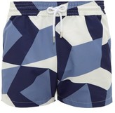 Frescobol Carioca Modernist Geometric-print Technical Swim Shorts - Mens - Navy Multi