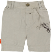 Kushies Khaki Embroidered Shorts - Infant