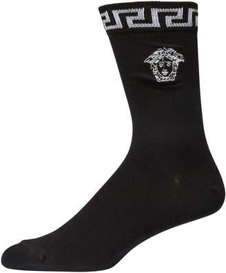 Versace Men's Signature Medusa Head/Greek Key Socks