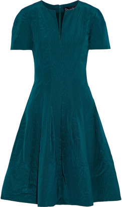 Oscar de la Renta Flared Cotton-blend Moire Dress