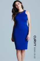 Little Mistress Curvy Blue Embellished Dress