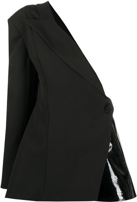 Loulou One-Shoulder Leather-Panelled Blazer