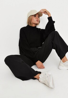 Missguided Petite Black High Neck Balloon Sleeve Boyfriend Cropped Sweater
