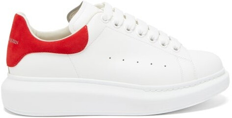 Alexander McQueen Raised-sole Low-top Leather Trainers - Womens - Red White