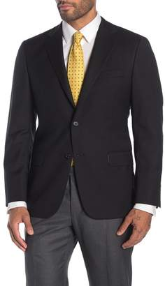 Hickey Freeman Black Solid Two Button Notch Lapel Wool Classic Fit Suit Separates Jacket