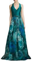 Theia Sleeveless T-Back Floral-Print Gown, Peacock
