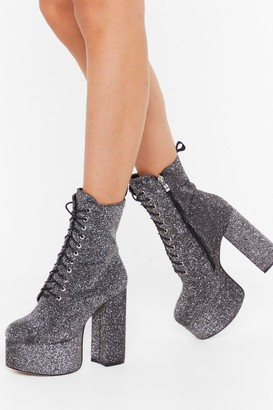 Nasty Gal Womens Glitter lace up super platform boots - grey - 3