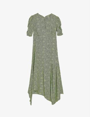 Topshop Graphic-print crepe midi dress