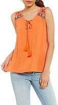 Miss Me Embroidered-Yoke Tassel Tank Top