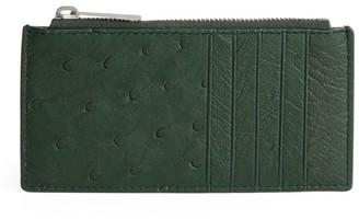 Bottega Veneta Ostrich Leather Zipped Card Holder