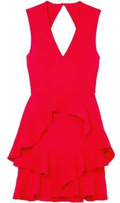 Rebecca Vallance Havana Cutout Ruffled Stretch-crepe Mini Dress