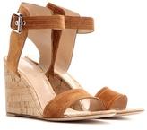 Gianvito Rossi Rikki Mid Wedge Suede Sandals