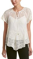Ella Moss Women's Aimee Lace Short Sleeve Silk Lace Blouse