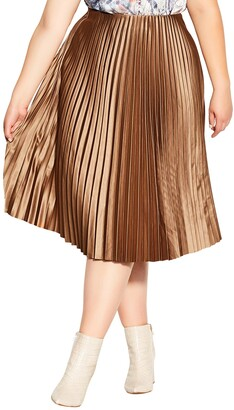 City Chic Pleated Satin Skirt