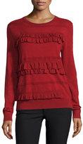 Diane von Furstenberg Benni Crewneck Ruffle-Trim Wool-Blend Sweater, Rubiate