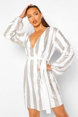 boohoo Tall Stripe Sequin Wrap Belted Mini Dress