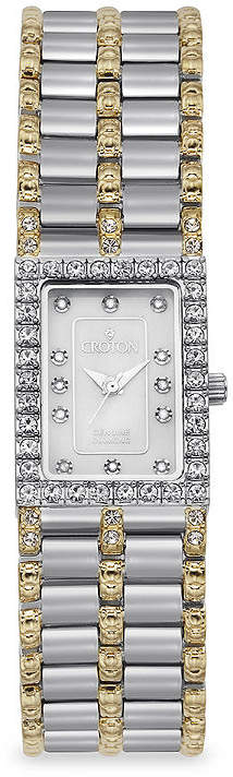 Croton Womens Diamond-Accent Square Two-Tone Stainless Steel Bracelet Watch