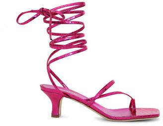 Paris Texas Betty Metallic Lace Up Sandals