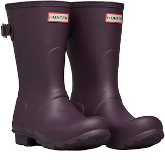 Hunter Womens Back Adjustable Short Wellington Boots Black Grape