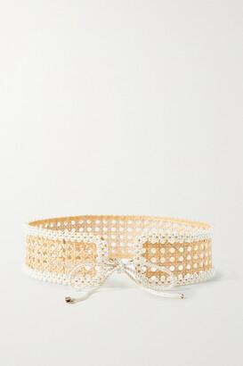 Rosantica Cinderella Faux Pearl-embellished Wicker Belt - Neutrals