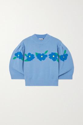 Rixo Nell Cropped Intarsia Cotton Sweater - Blue