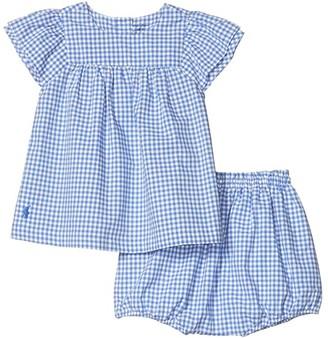 Polo Ralph Lauren Kids Gingham Top Bloomer Set (Infant) (Blue Multi) Girl's Active Sets