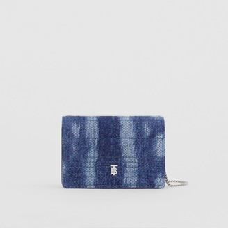 Burberry Quilted Denim Card Case with Detachable Strap
