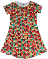 Urban Smalls Brown & Orange Owls Sublimated Swing Dress - Toddler & Girls