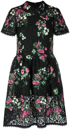 RED Valentino Short-Sleeve Floral Dress