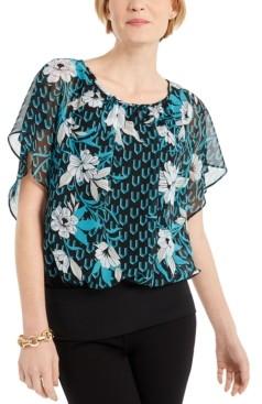 JM Collection Flutter-Sleeve Banded-Hem Top, Created for Macy's