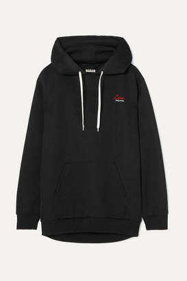 Miu Miu Embroidered Cotton-blend Jersey Hoodie - Black