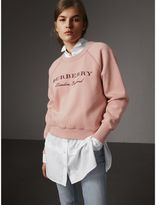 Burberry Embroidered Cotton Blend Jersey Sweatshirt, Purple