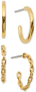 AVA NADRI 2-Pc. Set Braided & Polished Hoop Earrings