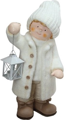 "Northlight 17.25"" Winter Boy in White Holding a Tealight Lantern Christmas Table Top Figure"