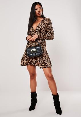 Missguided Brown Leopard Print Wrap Ruffle Hem Tea Dress