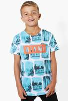 boohoo Boys Miami Palm Print Tee blue