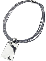 Adele Marie Leather Multi Strand and Square Pendant Necklace, Silver