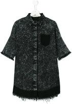 Andorine - raw edges denim dress - kids - Cotton/Polyester/Spandex/Elastane - 14 yrs