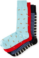 Neiman Marcus 4-Pair Critter Socks Gift Box