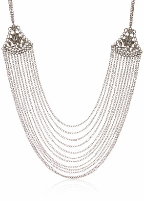 Private Label Sunsoul Tribal Bohemian Chic Awesome Afghani Art Intricate Embossing and Fine Chain Strands Long Necklace Set in Oxidized Silver Tone- Jewelry for Women. Gift for mom