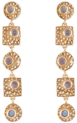 Mocha Circle & Square Earrings - Gold Two