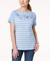 Karen Scott Striped Embroidered T-Shirt, Created for Macy's