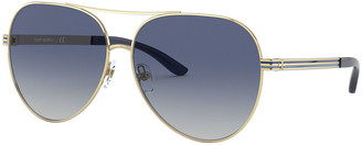 Tory Burch Metal Aviator Sunglasses w/ Striped Arms