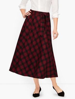 Talbots Tie Waist Houndstooth Midi Skirt