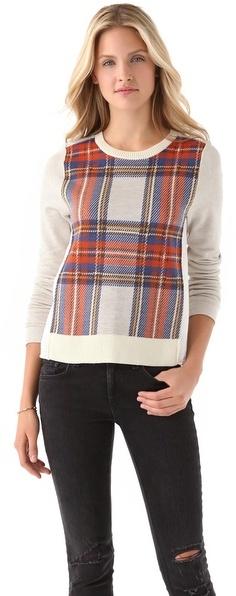 Clu Plaid Colorblock Sweater