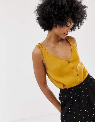 Gestuz Arienne top with frill and button front-Yellow
