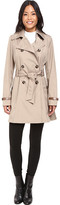 Via Spiga Double Breasted Trench with Faux Leather Detaiil