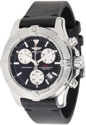 Breitling Black and Stainless Steel Leather Colt Chrono A73380 Men's Wristwatch 40MM