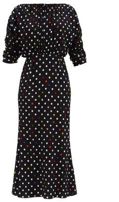 Christopher Kane Rainbow Polka Dot Gathered Midi Dress - Black