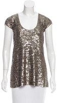 Donna Karan Embellished Short Sleeve Sweater